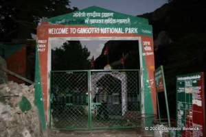 Locked gates outside Gangotri