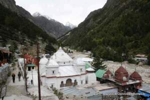 Temple at Gangotri. The glacier once reached the foot of the temple steps
