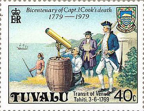 British postage stamp commemorating the 200th anniversary of Cook's visit to Tahiti for the Transit of Venus