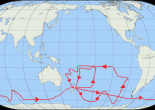 Track of HMS Resolution on Cook's Second Voyage (courtesy of Wikipedia)