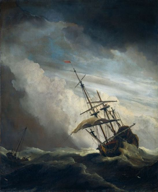 Sailing ship in gale