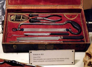 Part of the equipment of a naval surgeon in the 18th century